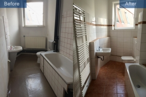 Apartment renovation bathroom before after