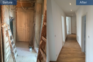 Old building renovation corridor before after