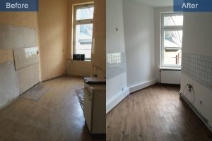 Old building renovation kitchen before after