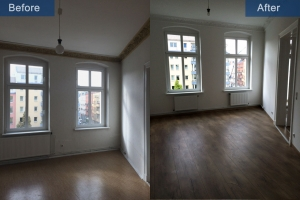 Old building renovation room before after